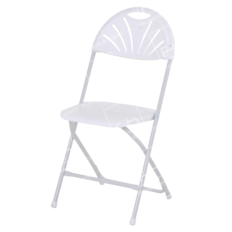White Folding Fan Back Chair